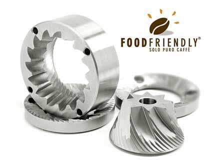 Burrs Food Friendly 1 Reliability : our grinding burrs do not undergo deformations, thanks to the particular heat treatment they have been subjected; they settle right after the first grinding, not
