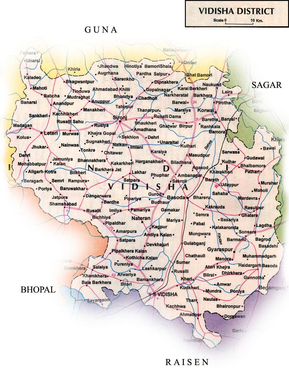 Vidisha District Latitude : 23-2 to 24-22 North Longitude : 77-15 30 to 78-18 East Climate : Dry except