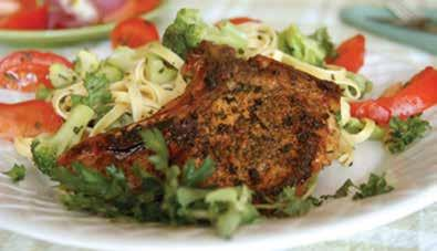 Prep Time: 15 minutes Cook Time: 60 minutes skillet pork chops with herbs 1 tsp dried thyme 1 tsp dried sage 1 tbsp vegetable oil Nonstick vegetable cooking spray 4, 5-oz (20 oz) pork chops, lean,