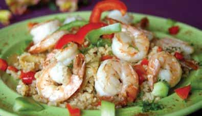 Prep Time: 10 minutes Cook Time: 35 minutes shrimp and vegetable jambalaya 2 1/2 cups chicken broth 1 1/4 cups uncooked long-grain white rice 1 cup red bell pepper, cut into 1 inch chunks 1 cup green