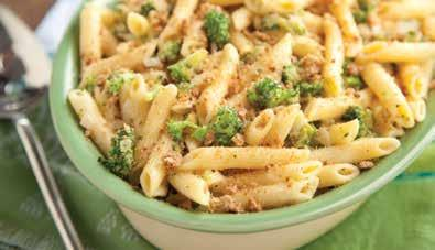 Prep Time: 10 minutes Cook Time: 45 minutes broccoli mac and cheese 6 oz reduced-carb penne pasta 3 cups small broccoli florets 1 tbsp olive oil 1 onion, finely chopped 1 tbsp white whole wheat flour