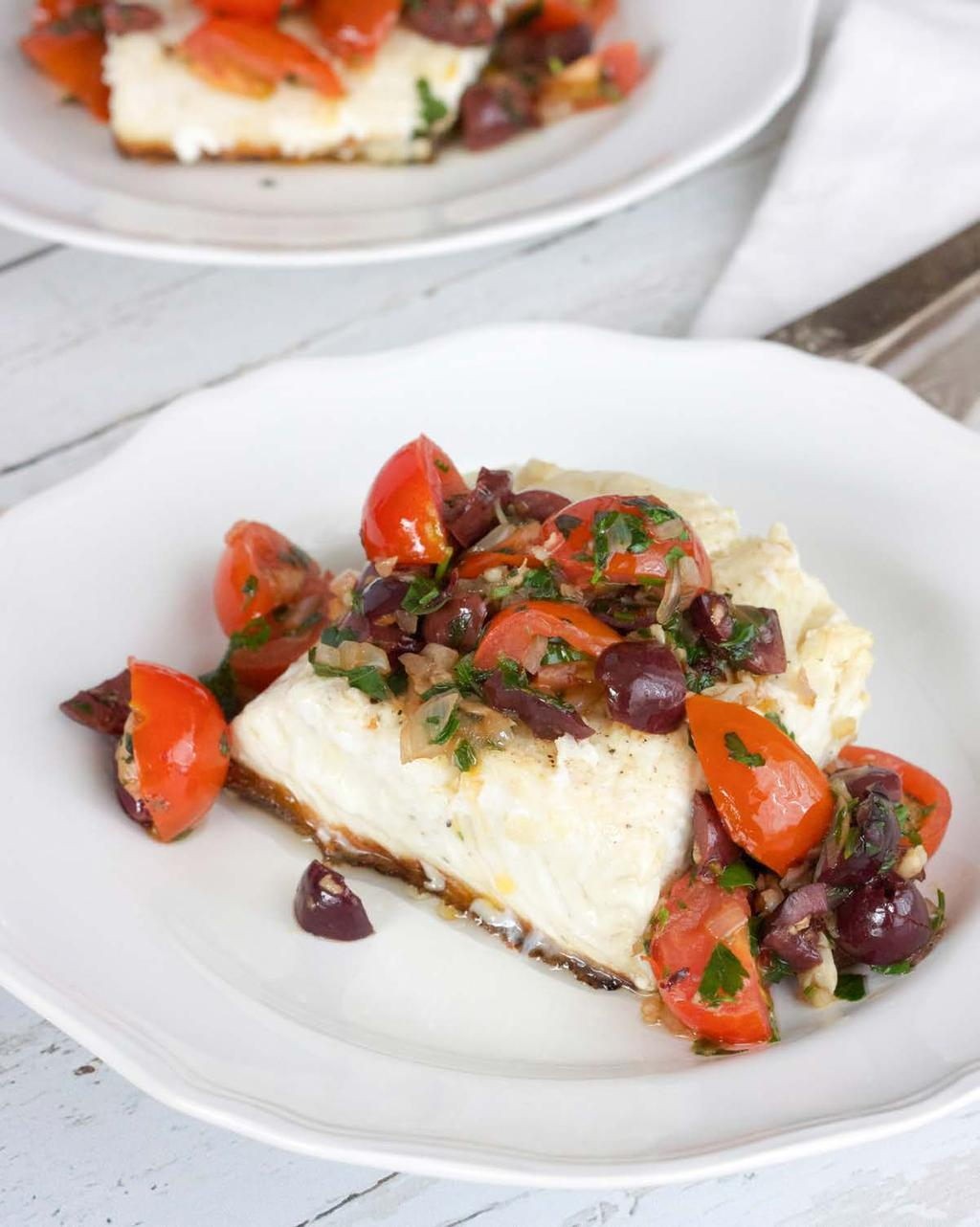 Halibut with olives and tomatoes SERVES 2 It seems that every time I have a dinner party, especially with non-paleo guests, there are one or two people that don t eat read meat.