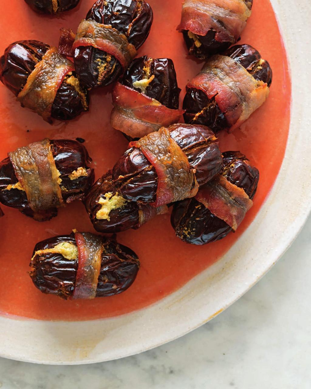 Creamy Bacon-Wrapped Dates SERVES 10 (2 PER PERSON) I usually prep these, stage them in the oven and turn the oven on as soon as the first dinner guests arrive.