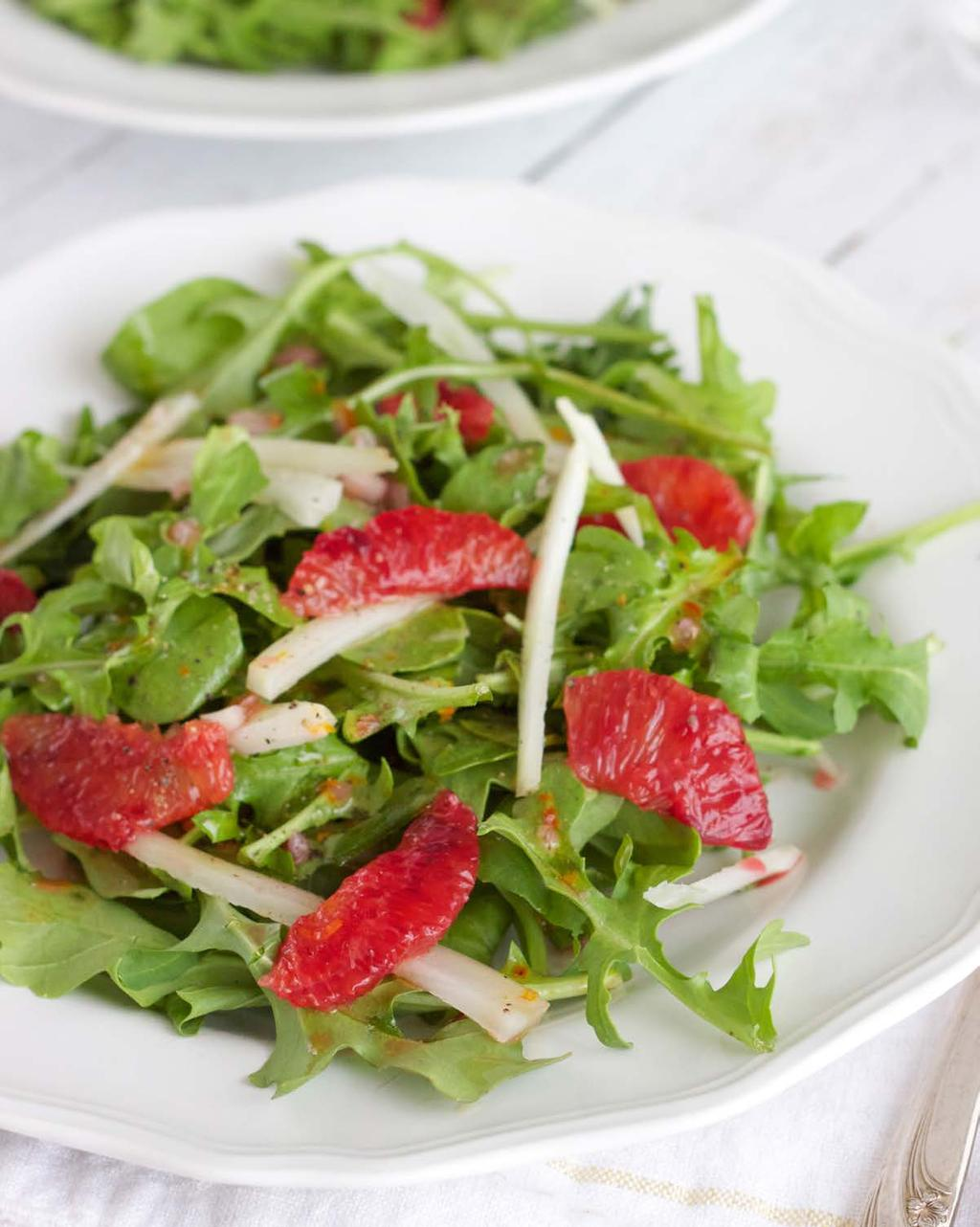 Blood Orange, Fennel & Arugula Salad SERVES 6 This light and refreshing salad balances out the rest of the meal with some raw, crunchy greens and slightly sweet blood orange.