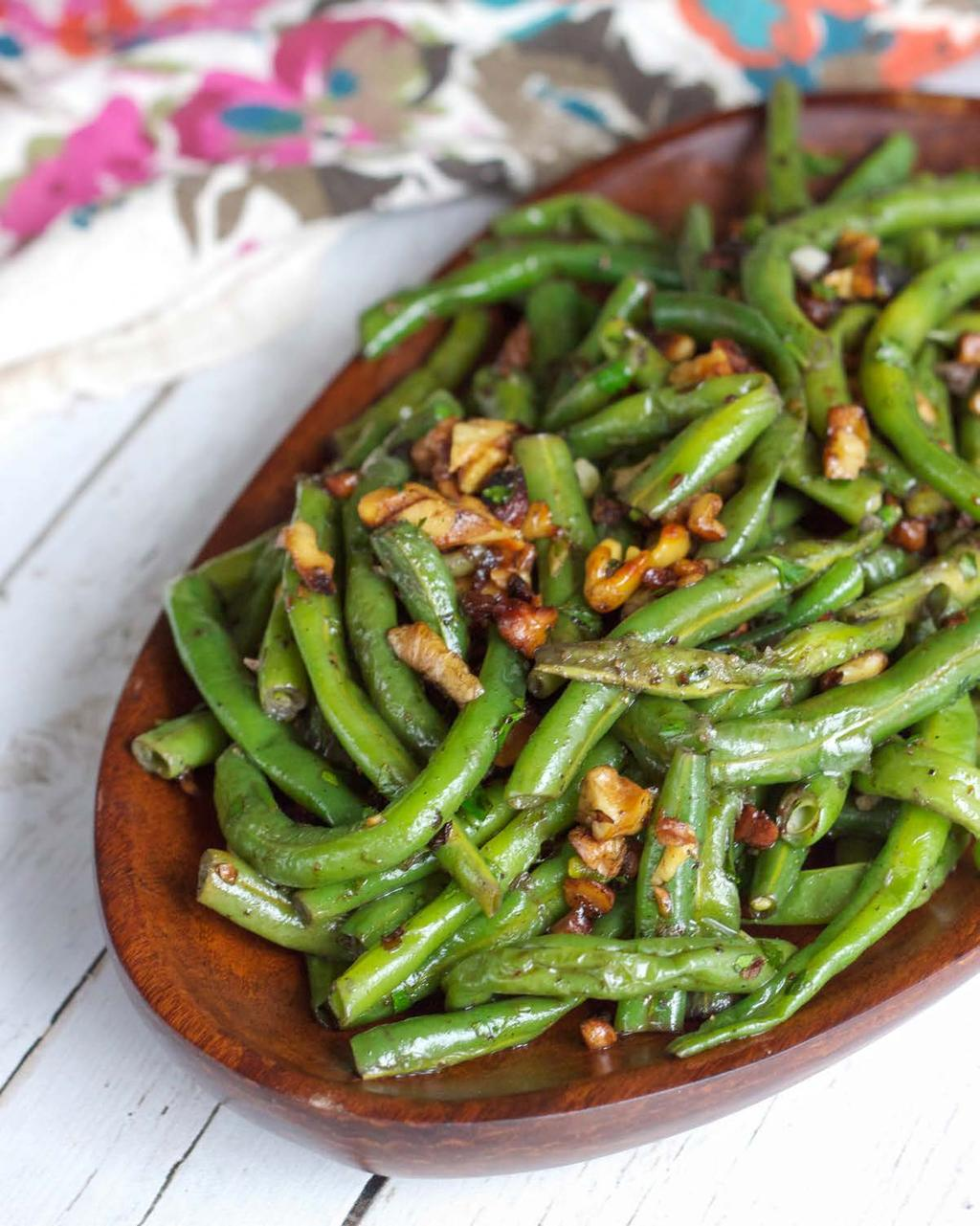 Green Beans with Walnuts SERVES 6 This simple and delicious side dish recipe is a perfect accompaniment to just about any meal.