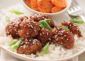 Sesame Chicken over Rice 1 (25.5 ounce) package frozen all-white meat popcorn chicken ½-¾ cup Hey Garlic!