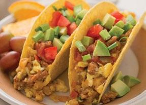 Tex-Mex Breakfast Tacos 8 ounces ground turkey breakfast sausage 2½ cups frozen potatoes O Brien 1-2 tablespoons Mom s Favorite Taco Seasoning 9 large eggs, beaten 1 cup shredded colby-jack cheese 10