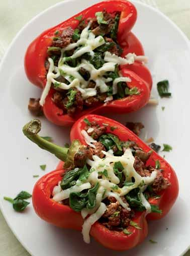 Stuffed Red Peppers Splitting the bell peppers lengthwise allows you to use the entire pepper. For a more festive look, use a mix of red, yellow, orange, and green peppers.