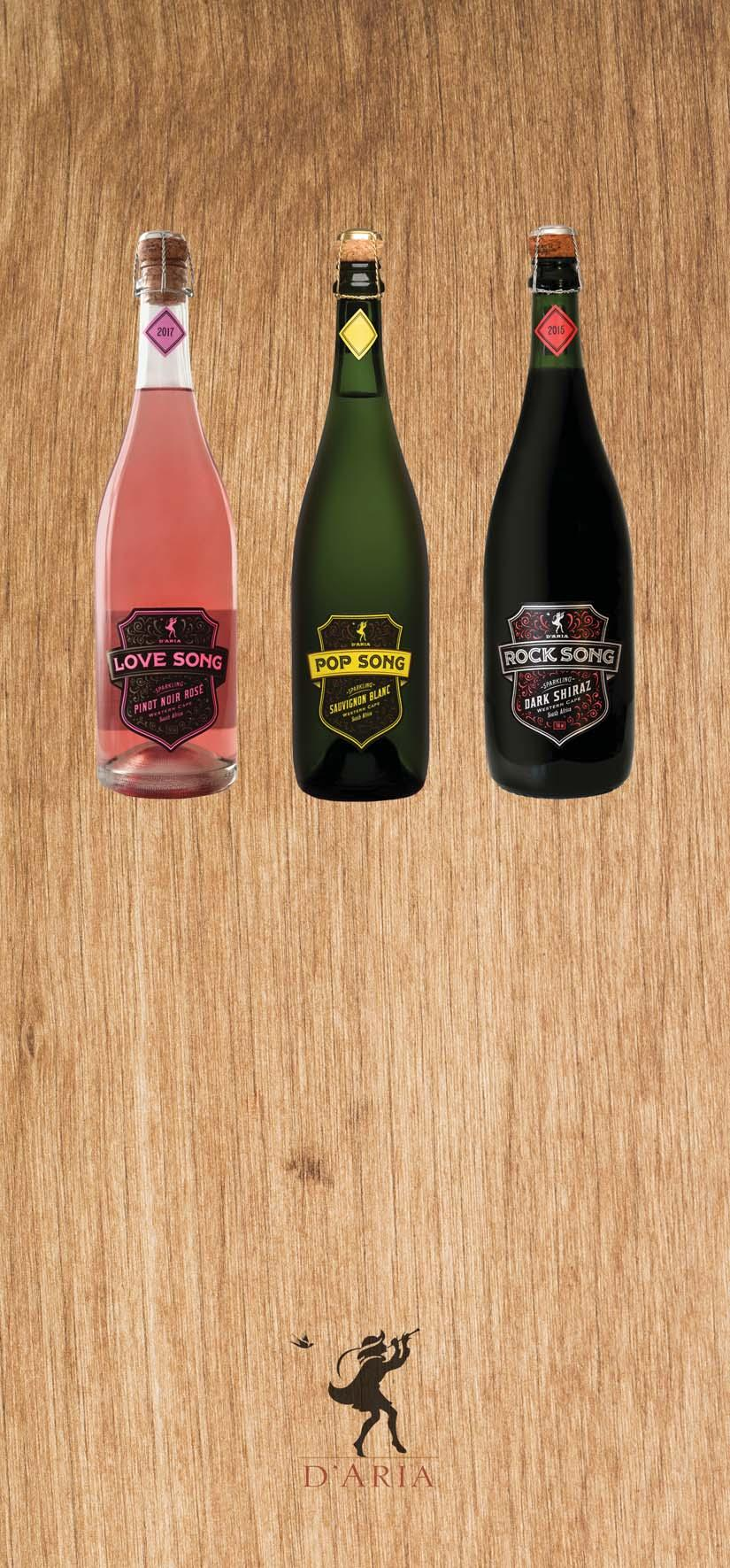 SPARKLING WINES by D ARIA D ARIA LOVE SONG PINOT NOIR SPARKLING 120 A Fresh and fragrant salmon coloured Pinot Noir Sparkling rose wine.