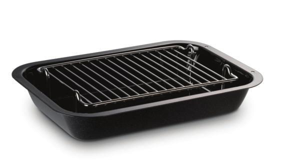 Equipment supplied with your AGA Total Control Large Size Roasting Tin with Grill Rack This is designed to slide onto the oven runners without the need for it to sit on an oven grid shelf.
