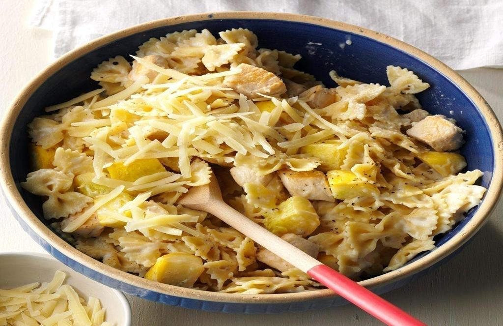 Chicken and Summer Squash Bow-tie Pasta A delish meat and pasta recipe that is both