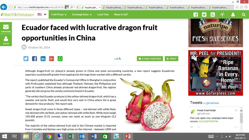 Ecuador 30 October 2014 although Thailand, Vietnam, the Philippines and parts of southern China already produced red-skinned dragon fruit, the regions generally did not grow the variety commonly