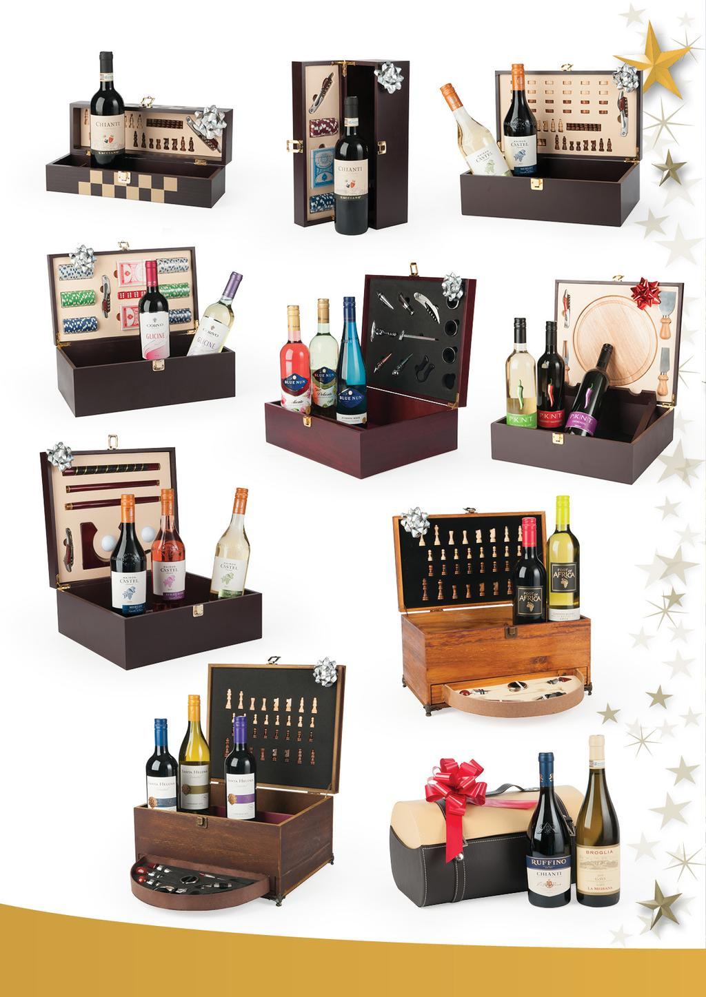 36.50 36.50 45.50 030A 62.00 030B Wine in Luxurious Wooden Boxes with Accessories 031 63.