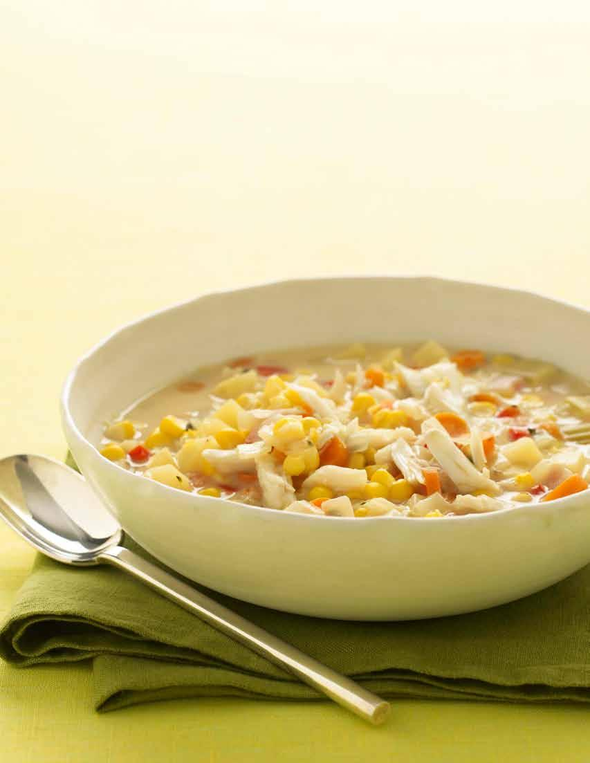 Slow Cooker Corn and Crab Chowder makes 4 servings Prep 15 minutes Slow Cook on HIGH for 5 hours or LOW for 7 hours 2 cans (14.