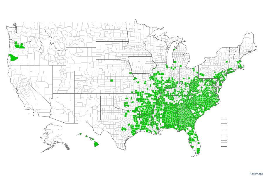 Distribution of Kudzu EDDMapS. 2012. Early Detection & Distribution Mapping System.
