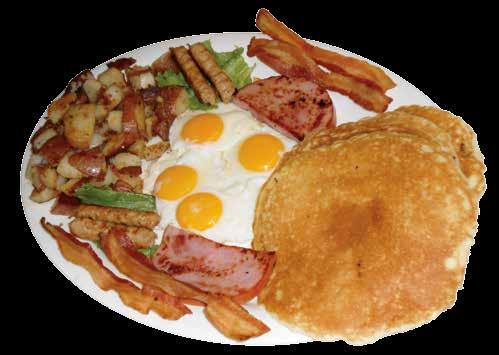 Farmer Joe s Breakfast Specials $7.59 2 eggs with choice of 2 sausage links, 2 bacon or ham slice with one of the specials below: 1. Dish of fruit and toast 2.