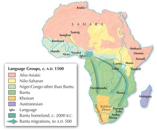 Section 1 The West Africans who migrated south and east