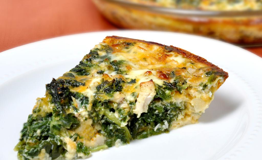 CRUSTLESS CHICKEN QUICHE MAKES 6 SERVINGS 1 cup chopped cooked chicken 1 (10 oz) package frozen chopped spinach 1/2 cup chopped onion 1 cup fat free shredded cheddar cheese 4 eggs 1 (12 oz) can