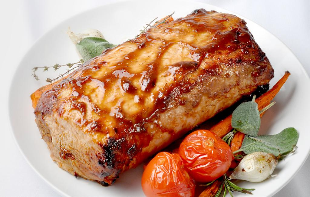 ZESTY PORK LOIN MAKES 9 SERVINGS 3 lb boneless single pork loin 1/4 cup catsup 1 tbsp sugar 1 tbsp white wine or water 1 tbsp hoisin sauce 1/2 tsp salt 1 clove garlic, minced 1.