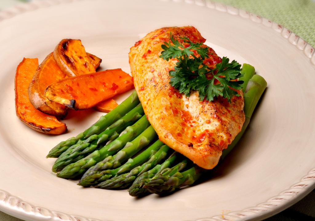 CHICKEN MAKES 2 SERVINGS Chicken breast tenders, approximately 16 oz 1 tbsp mango curry sauce 1/2 lb sweet potato wedges, approximately 1/2 x 1/2 x 2-1/2 inches 12 fresh asparagus spears 1.