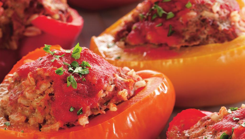 ITALIAN STUFFED PEPPERS MAKES 6 SERVINGS 3 medium red, orange, or yellow bell peppers 1 lb 93% lean ground beef 1 (8 oz) can tomato sauce 1/2 cup uncooked instant rice 1 egg, slightly beaten 1/2 tsp