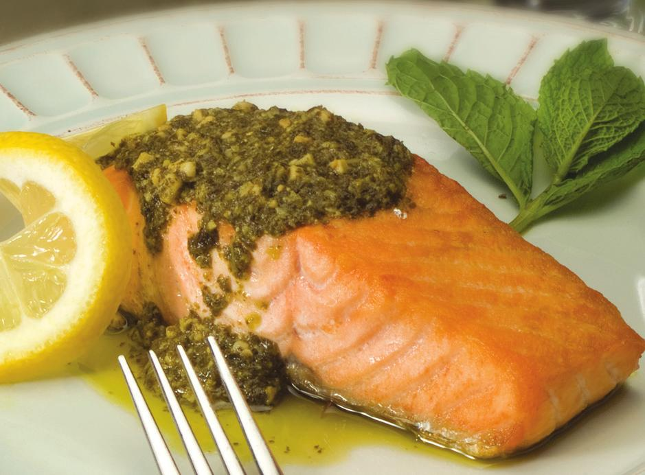 PESTO BROILED FISH MAKES 4 SERVINGS 4 (3/4 inch thick) fish steaks, 1 lb 1/4 cup pesto 1. Spray the rack with no stick cooking spray 2. Arrange fish in baking tray. 3.