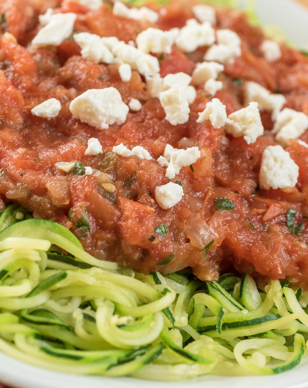 Zucchini Noodles with Salsa & Feta Serves: 4-6 4 medium zucchini 1 tablespoon olive oil 1 large onion, chopped 2 cloves garlic, chopped 4 pounds plum tomatoes, cored and chopped 1 small jalapeño