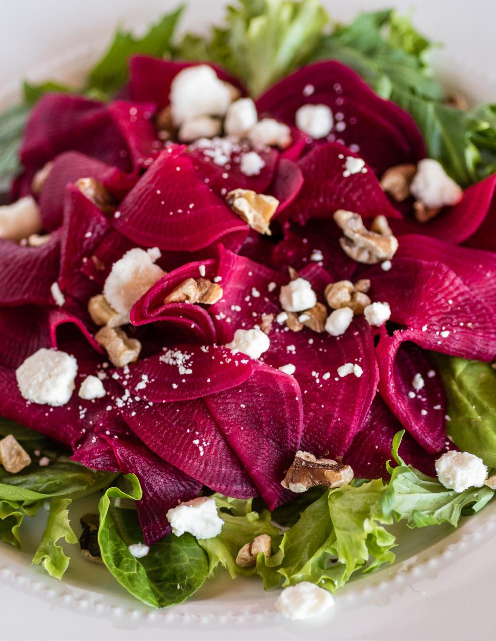Beets with Orange & Goat Cheese Salad Serves: 8 2 pounds fresh beets (about 6 medium), peeled 3 teaspoons salt, divided 6 tablespoons fresh orange juice 1/2 cup vegetable oil 2 tablespoons rice