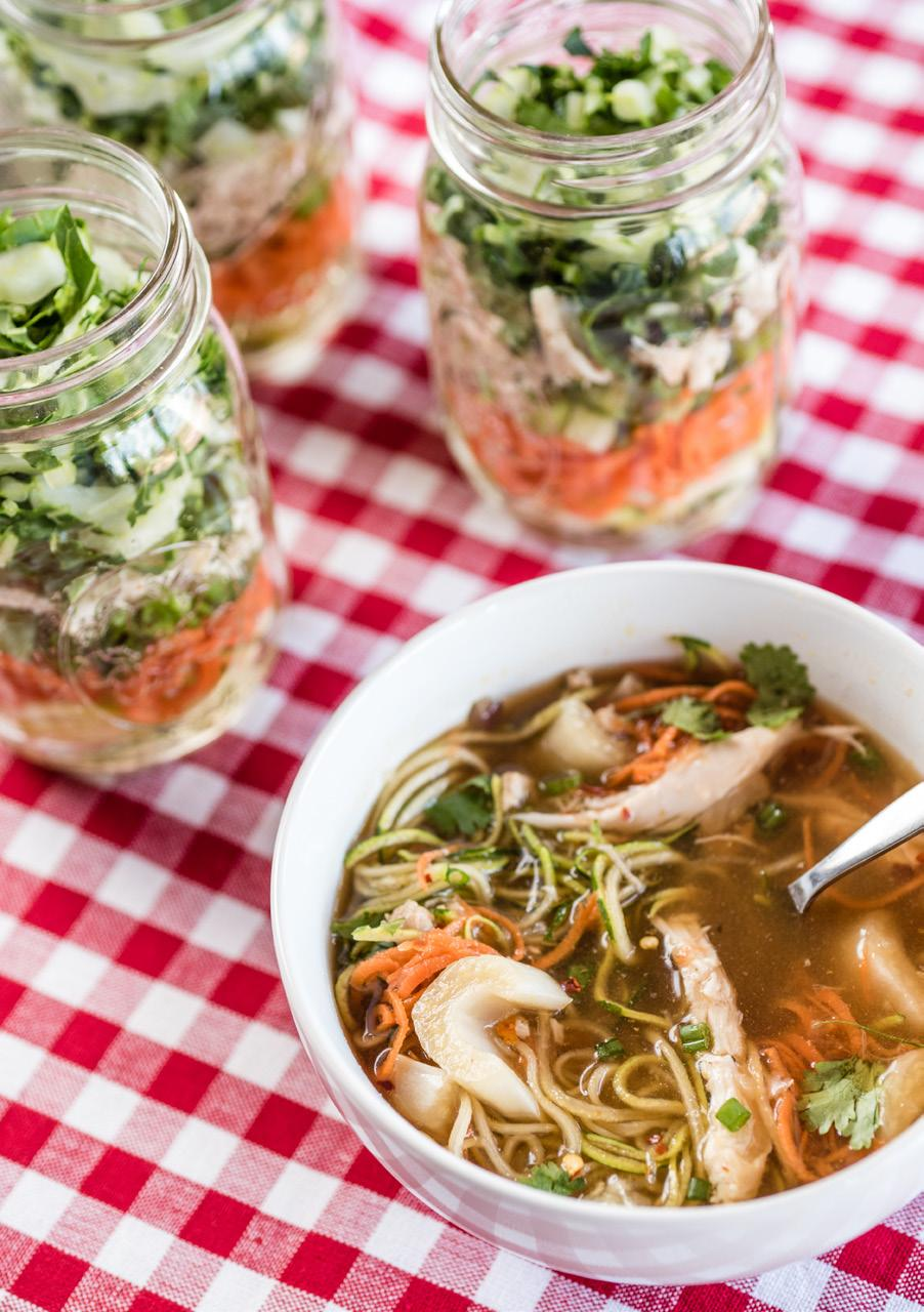 Veggie Noodle Cups Serves: 4 2 medium zucchini 2 large, thick carrots, peeled 2 cups sliced green onions 1 1/2 cups thinly sliced bok choy 1 cup shredded cooked chicken 2 cans (15 ounces each)