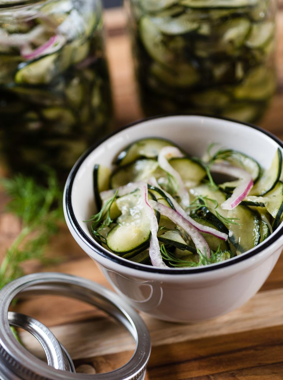 Spicy Cucumber Salad Serves: 8 6 medium cucumbers 1 cup thinly sliced red onion 1 cup chopped fresh dill 1 1/4 cups sugar 1 cup apple cider vinegar 1 teaspoon salt 1/2 teaspoon coarse black pepper