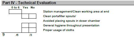 14.3.2 Dry/clean filter basket before dosing a. If the filter basket is completely dry and clean prior to dosing the coffee for the served beverages, the judge will mark Yes. 14.3.3 Acceptable spill/waste when dosing/grinding a.