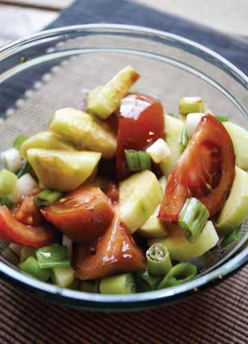 TOMATO and CUCUMBER SALAD................................................................................................................ Tomato and Cucumber Salad In a bowl, combine the cucumber, tomatoes, red peppers and onion.