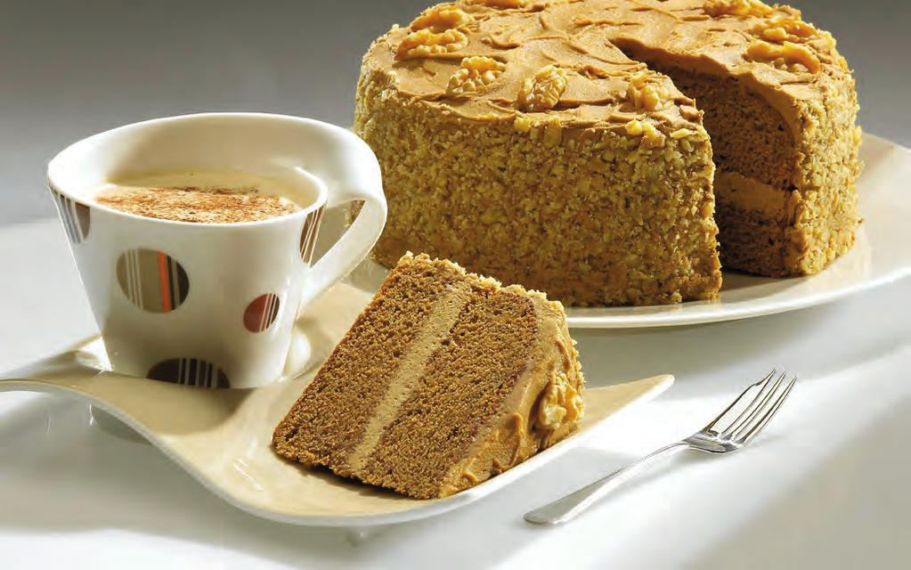 Coffee & Walnut Gateau CAKE Wright s Madeira Cake Mix 500g Instant Coffee (4 heaped teaspoons) 10g Water 200ml Vegetable Oil 60ml BUTTERCREAM Instant Coffee (2 heaped teaspoons) 5g Hot Water 20ml