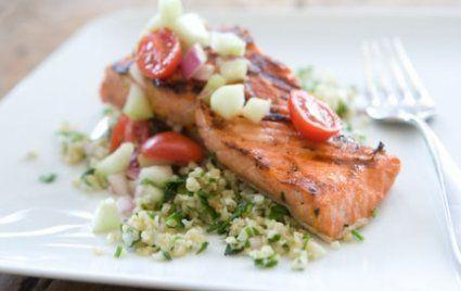 Dinner : Quinoa Tabbouleh with Salmon Day 33 Continued: http://www.epicurious.