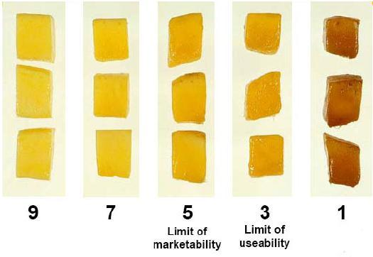Visual quality evaluation: Visual quality of mango cubes declined faster in the mangos with lower firmness at the time of cutting (Figure 6 and 7).