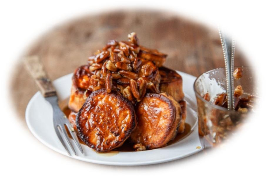 Melting Sweet Potatoes with Maple-Pecan Sauce 2 lbs. sweet potatoes 4 TBS unsalted butter 1/2 tsp salt For the maple pecan sauce: 1/2 cup maple syrup 1/2 cup chopped pecans Preheat the oven to 425.