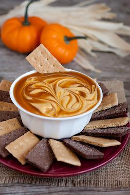 Pumpkin Pie Dip 8 oz cream cheese, softened 2 cups powdered sugar 1 1/4 cups canned pumpkin 1/2 cup sour cream 1 1/2 tsp cinnamon 1/2 tsp nutmeg 1/2 tsp ginger 1/4 tsp cloves (optional) 1/4-1/2 cup