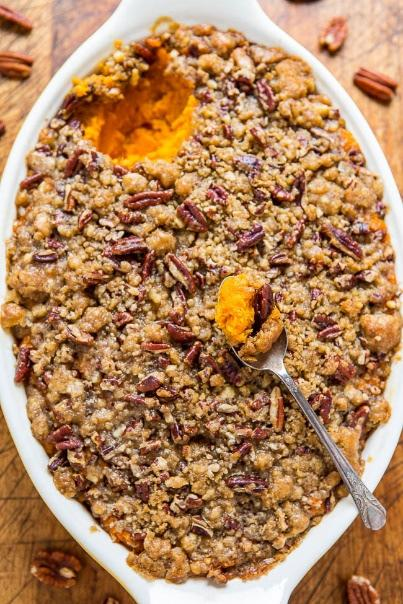 Sweet Potato Casserole with Butter Pecan Crumble Topping Filling 4 pounds raw sweet potatoes, diced into large chunks and boiled 2 large eggs 1/4 cup unsalted butter, softened 1/2 cup milk 1/2 cup