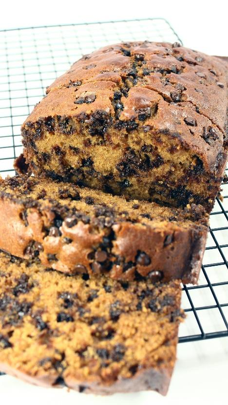 Chocolate Chip Pumpkin Bread 2½ cups flour ¾ cup brown sugar 1 cup sugar ½ tsp baking powder 1 tsp cinnamon 1 TBS pumpkin pie spice 1 tsp salt 3 eggs ½ cup oil ¼ cup water 1 can of pumpkin 1 bag mini