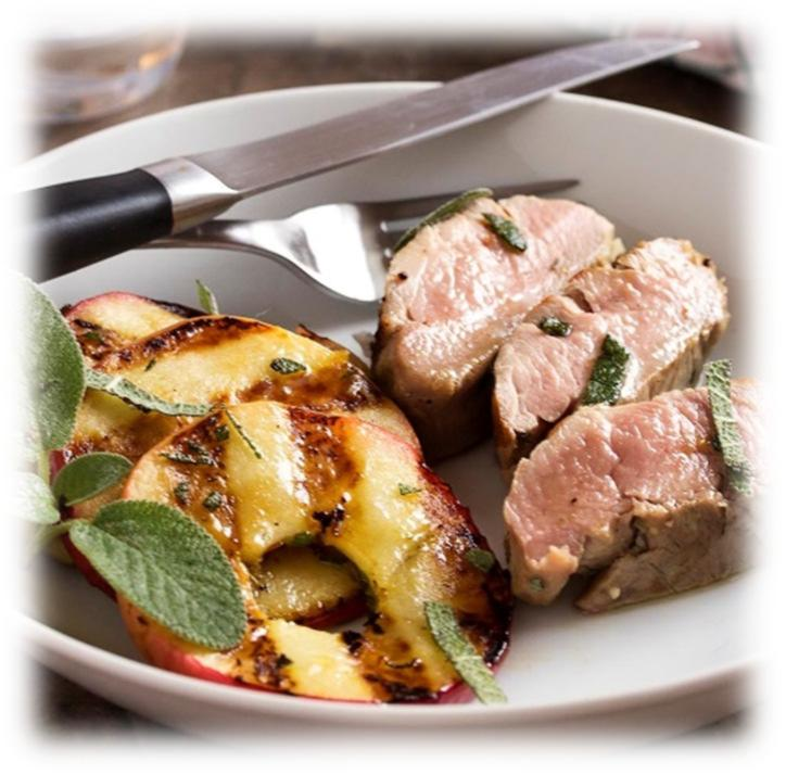 Easy Grilled Pork Tenderloin with Apples & Sage 2 pork tenderloins, (~2 lbs.