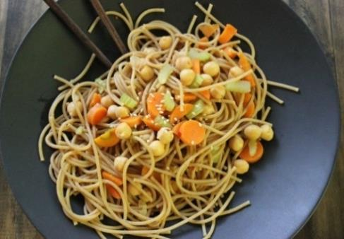 Amazing Lo Mein ADAPTED FROM HOOVER CITY SCHOOLS, ALABAMA HEALTHY, DELICIOUS, MEAT-FREE RECIPE F CACFP GUIDELINES 2. If using dry beans, soak and simmer the garbanzo beans; drain and set aside. 3.