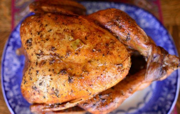 16 ROAST TURKEY Roast Turkey INGREDIENTS 1 Whole Turkey (calculate 1½ to 2 pounds per person) 12 Tbsp olive oil 1 tsp sage (if using fresh, 6 leaves) 1 Tbsp garlic powder 1 Tbsp thyme (if using