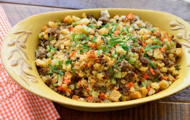 SAUSAGE & HERB STUFFING 21 Sausage & Herb Stuffing INGREDIENTS 4 Tbsp butter 3 Cups onions 2 lbs sausage 2 Cups celery 1 Cup carrots 1 Cup mushroom 6 sprigs fresh thyme or ¾ tsp