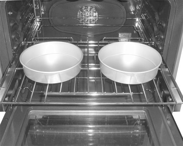For best results when baking cakes using the offset oven rack alone, place cookware using oven rack position 2 or 3.