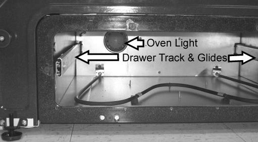 Care and Cleaning 61 Changing lower oven light Removing lower oven and replacing light 1. Before drawer removal, be sure to turn OFF the lower oven and let the drawer area cool completely. 2.