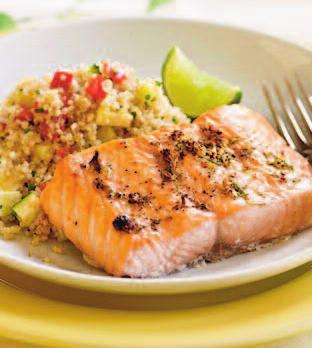 BROILED SALMON WITH PEPPERCORN-LIME RUB Yield: 4 Servings (1 fillet per serving) TOTAL TIME: 20 minutes 4 (6 oz.) salmon fillets (about ¾-inch thick) Cooking spray 2 tsp.