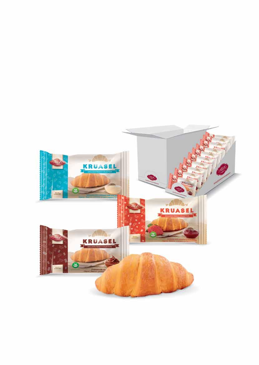 "KRUASEL Croissants ""Kruasel"" exlusive collection of French croissants by ""ABK"" Self-made fillins No artificial colorins are used Made from top-rade flour Box with perforation holes serves as a on the"