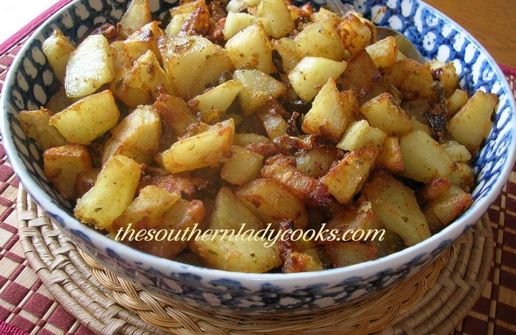 A N E W T W I S T O N F R I E D Potatoes 5 or 6 large potatoes, peeled and chopped into bite size pieces 1 to 1 1/2 cups flour (can use allpurpose or self-rising) 1/2 teaspoon cumin 1/2 teaspoon