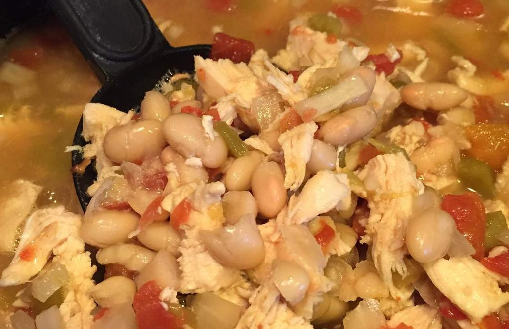C R O C K P O T Chicken Bean Soup 1 lb of boneless chicken breast 1 can of chicken broth 1 can of Rotel Tomatoes Mild (undrained) 2 cans of Northern White Beans (drained) 1 can of green chilies 1/2