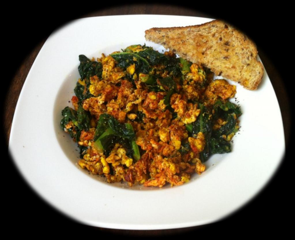 Turmeric Spiced Kale This spiced kale scramble is a tasty, nutritious and easy breakfast.